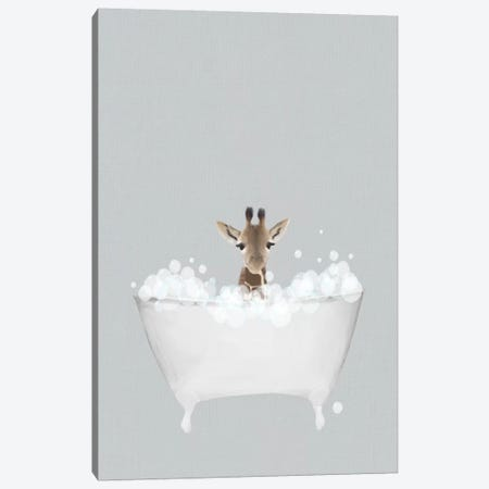 Giraffe Blue Bath Canvas Print #LEH88} by Leah Straatsma Canvas Wall Art