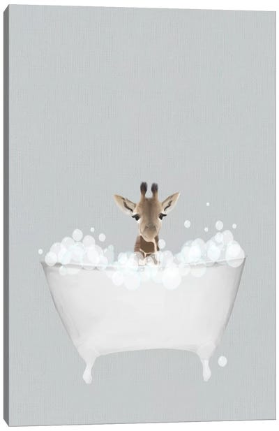 Giraffe Blue Bath Canvas Art Print