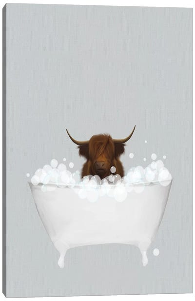 Highland Cow Blue Bath Canvas Art Print