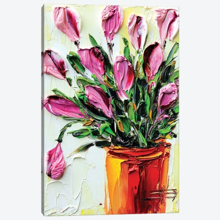 Pink Tulips I Canvas Print #LEL126} by Lisa Elley Canvas Artwork