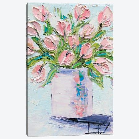 Pink Tulips II Canvas Print #LEL127} by Lisa Elley Canvas Art