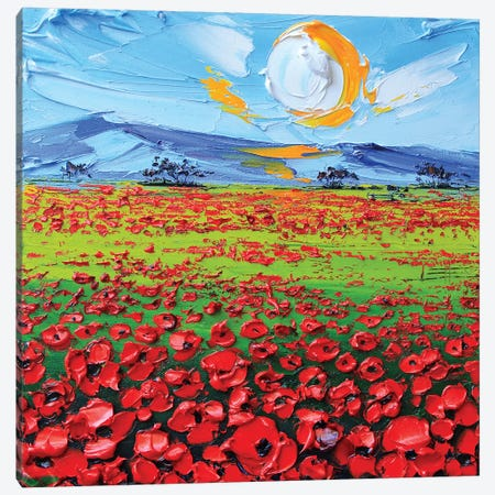 Poppies I Canvas Print #LEL130} by Lisa Elley Canvas Wall Art