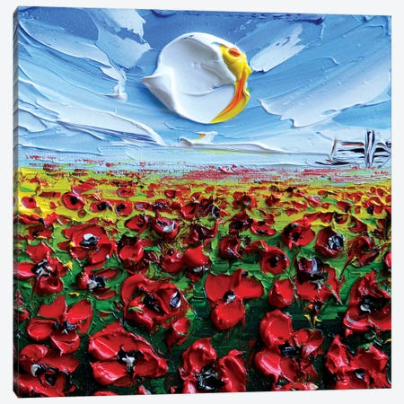 Poppies II Canvas Print #LEL131} by Lisa Elley Canvas Artwork