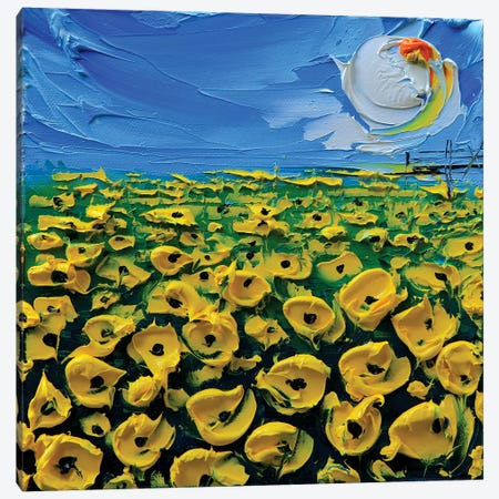 Poppies Yellow Canvas Print #LEL133} by Lisa Elley Canvas Artwork