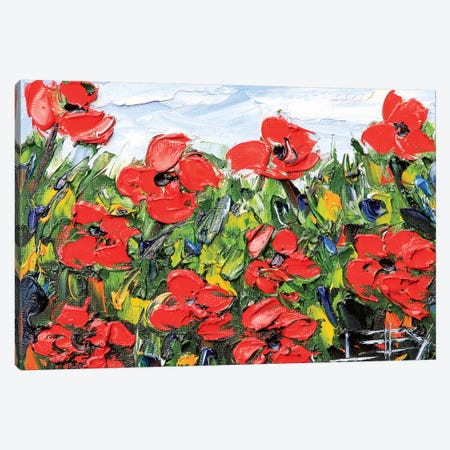 Red Poppies Canvas Print #LEL176} by Lisa Elley Canvas Art Print