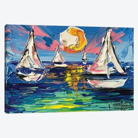 Sailboat Trio Canvas Print #LEL235} by Lisa Elley Canvas Art