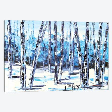 Blue Birch V Canvas Print #LEL30} by Lisa Elley Art Print