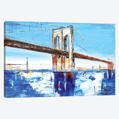 Brooklyn Bridge I Canvas Print #LEL33} by Lisa Elley Art Print