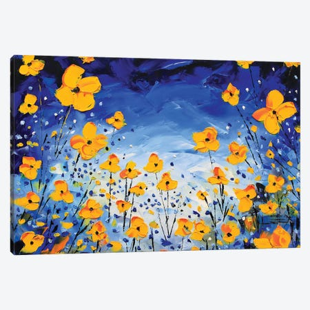 Evening Poppies Canvas Print #LEL54} by Lisa Elley Canvas Wall Art