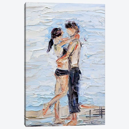 Abstract Girl Beach  Canvas Print #LEL5} by Lisa Elley Canvas Print