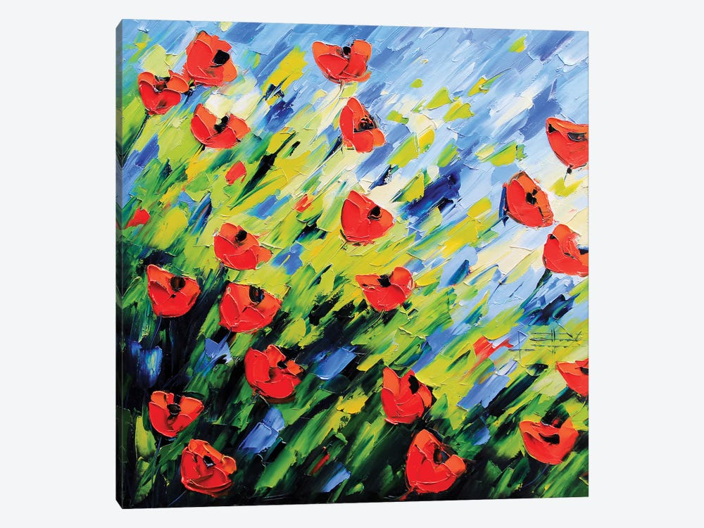 Large Poppy Painting by Lisa Elley 1-piece Canvas Print