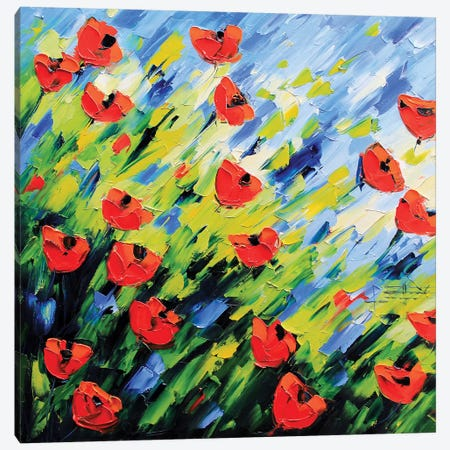 Large Poppy Painting Canvas Print #LEL87} by Lisa Elley Canvas Art Print