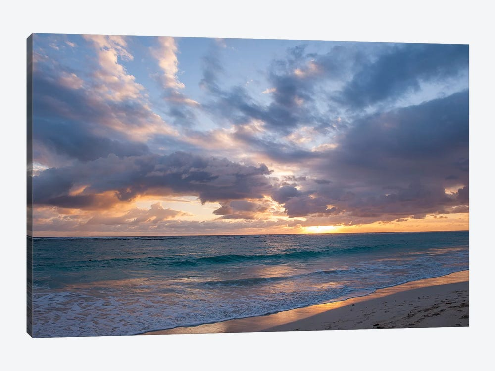 Beach Landscape At Sunrise, Bavaro, Higuey, La Altagracia Province, Dominican Republic by Lisa S. Engelbrecht 1-piece Art Print