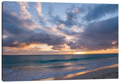 Beach Landscape At Sunrise, Bavaro, Higuey, La Altagracia Province, Dominican Republic Canvas Print #LEN1