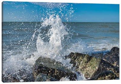Waves crashing on rocks, Honeymoon Island State Park, Dunedin, Florida, USA Canvas Art Print