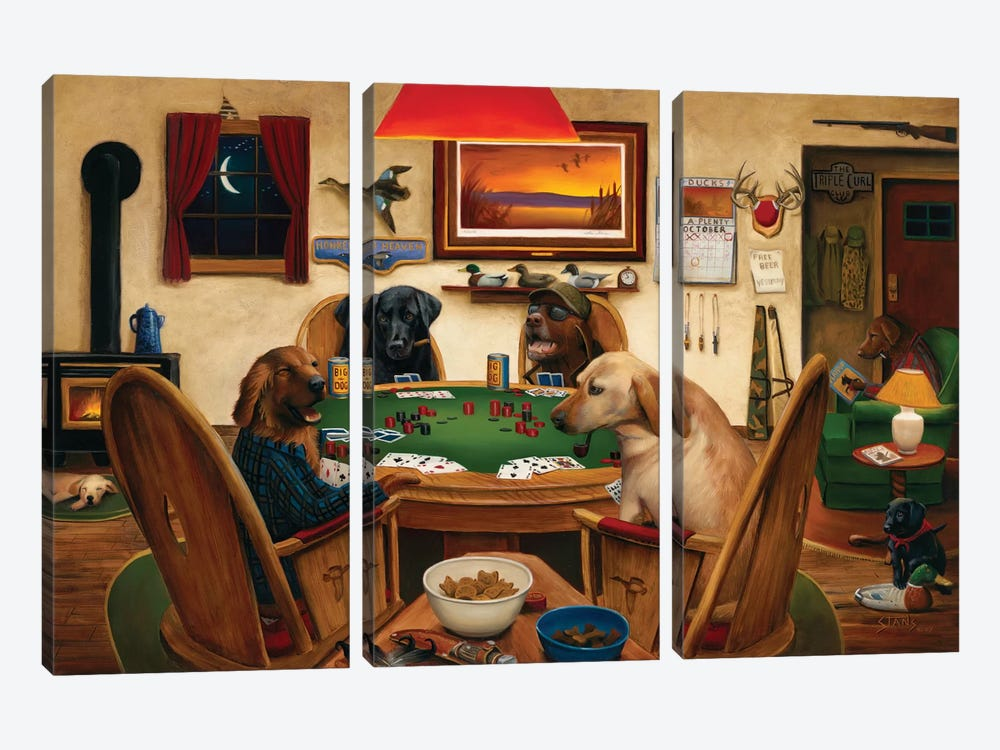 Duck Hunters by Leo Stans 3-piece Canvas Artwork