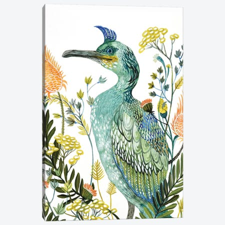 Green Bird Canvas Print #LES113} by Lesia Binkin Art Print