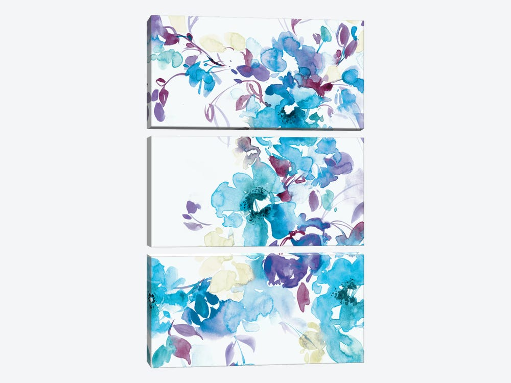 Blue Bouquet I by Lesia Binkin 3-piece Canvas Artwork