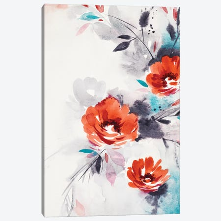 Minimalist Red Flowers Canvas Print #LES84} by Lesia Binkin Canvas Art