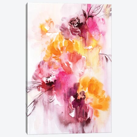 Orange & Red Flowers Abstract Canvas Print #LES85} by Lesia Binkin Canvas Art