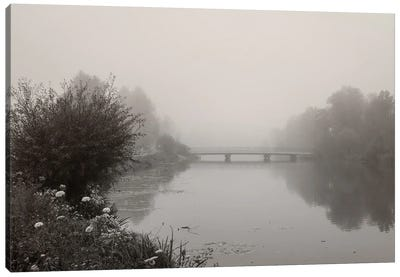 River Amper In Fog Canvas Art Print