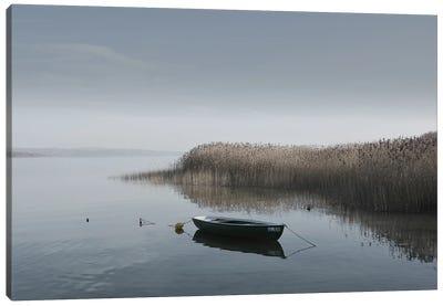 Boat On The Lake Shore Canvas Art Print