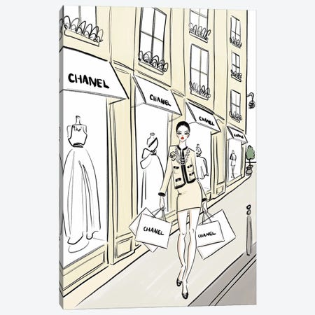 Chanel Shopping Canvas Print #LFJ114} by La femme Jojo Art Print