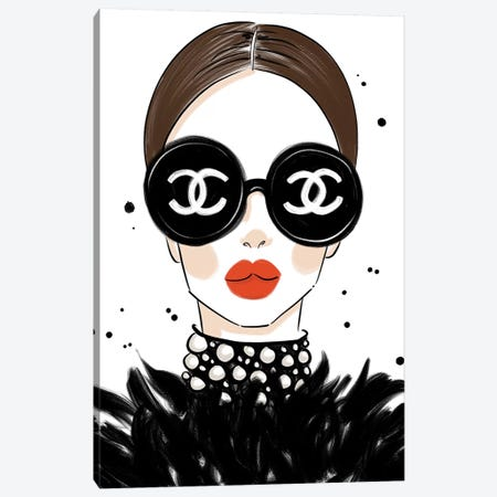 Chanel Sunglasses Canvas Print #LFJ118} by La femme Jojo Canvas Art
