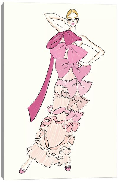 Pink Bow Dress Canvas Art Print