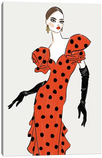 Red Polka Dot Dress Canvas Art Print