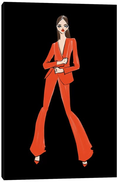 Red Power Suit Canvas Art Print