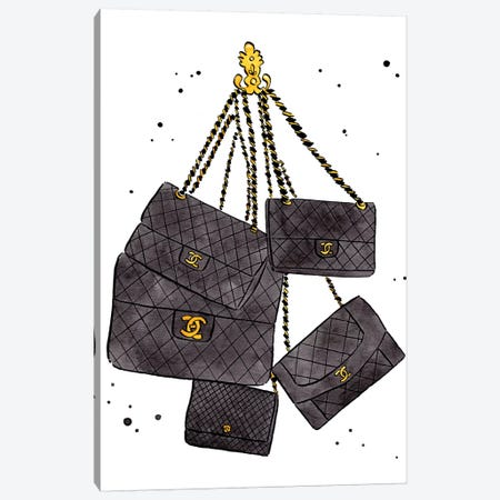 Chanel Bags Canvas Print #LFJ15} by La femme Jojo Canvas Wall Art
