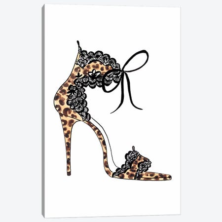 Leopard And Lace Heel Canvas Print #LFJ25} by La femme Jojo Art Print