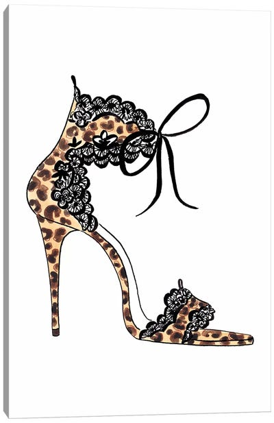Leopard And Lace Heel Canvas Art Print