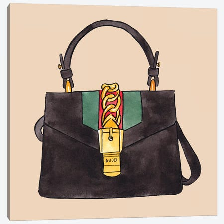 Gucci Bag On Tan Canvas Print #LFJ34} by La femme Jojo Canvas Art