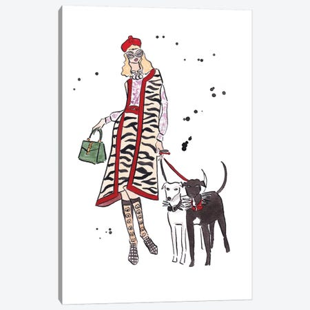 Dog Walking Canvas Print #LFJ38} by La femme Jojo Canvas Print