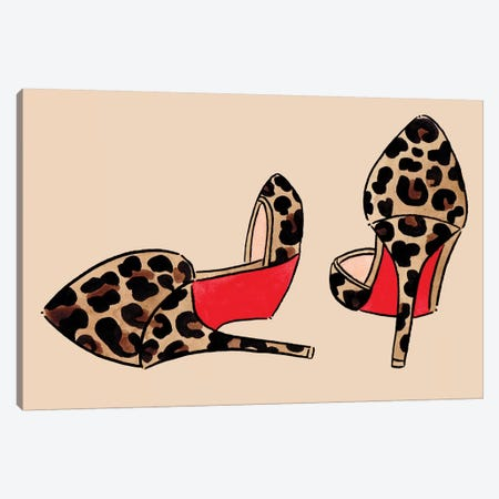 Leopard Louboutins On Tan Canvas Print #LFJ51} by La femme Jojo Art Print