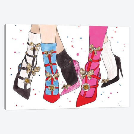 Versace Bow Shoes Canvas Print #LFJ96} by La femme Jojo Canvas Artwork