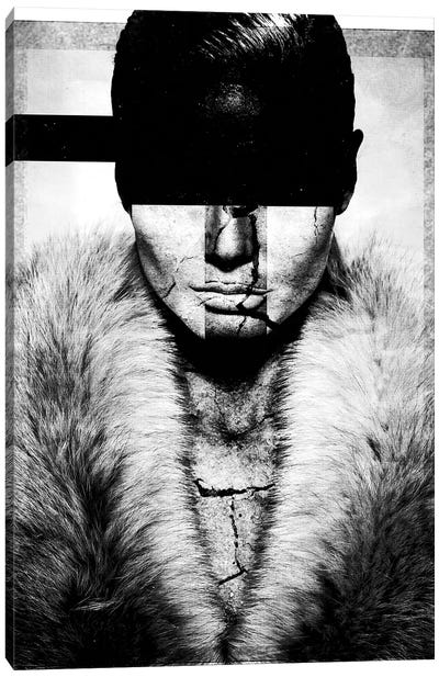 Cracked Persona In Black & White Canvas Art Print