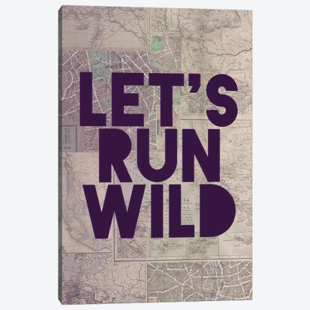 Let's Run Wild Canvas Print #LFS44} by Leah Flores Canvas Artwork