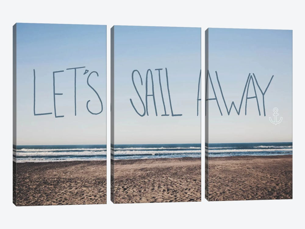 Let's Sail Away by Leah Flores 3-piece Canvas Wall Art