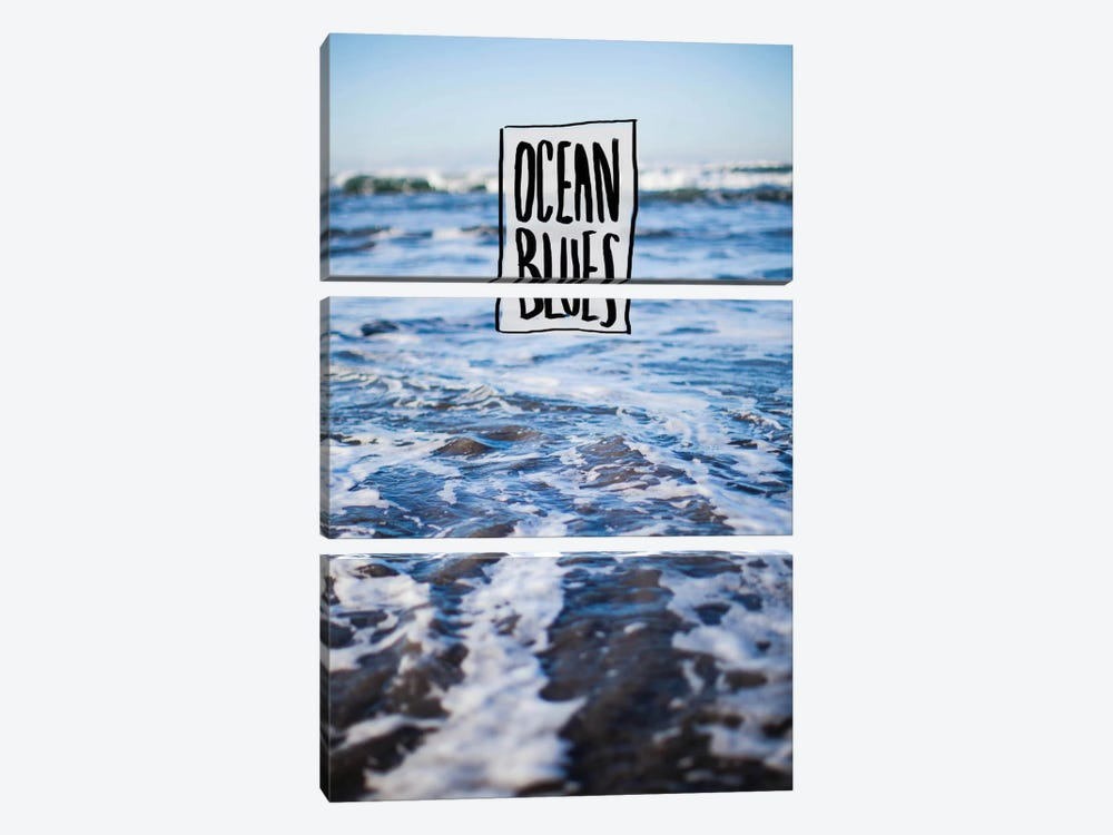 Ocean Blues by Leah Flores 3-piece Canvas Print