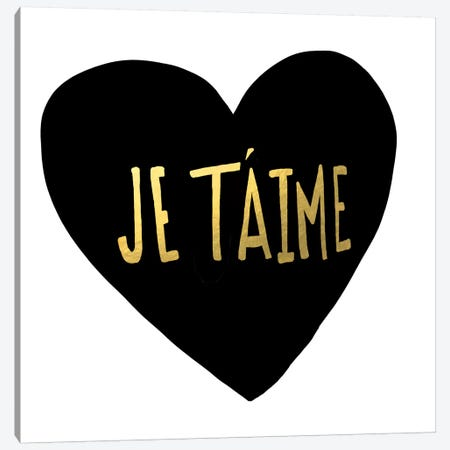 Je T'aime Heart Canvas Print #LFS70} by Leah Flores Canvas Art