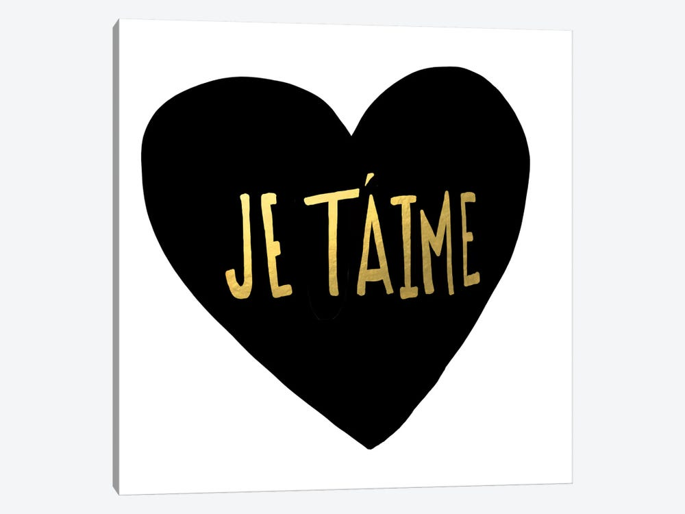 Je T'aime Heart by Leah Flores 1-piece Canvas Wall Art