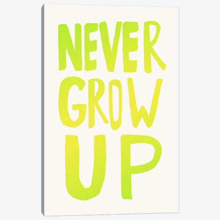 Never Grow Up Green Canvas Print #LFS79} by Leah Flores Canvas Art