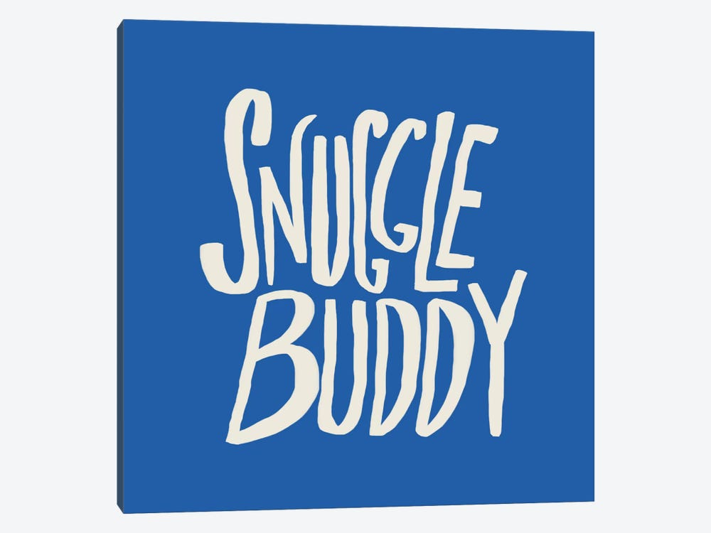 Snuggle Buddy X Blue by Leah Flores 1-piece Canvas Wall Art