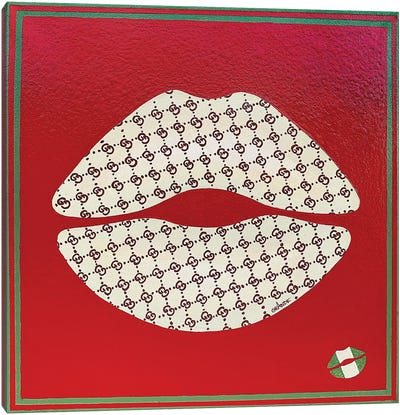 Gucci White Kiss Canvas Art Print