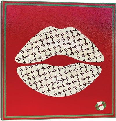 Gucci White Kiss Canvas Art Print