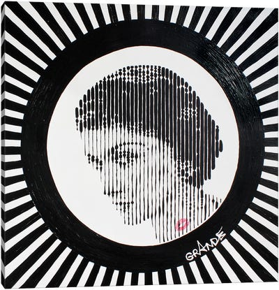 Coco Black & White Stripes Canvas Art Print