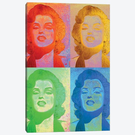 Gold Homage Marilyn 4 Parts Canvas Print #LGA297} by Alla GrAnde Canvas Art Print